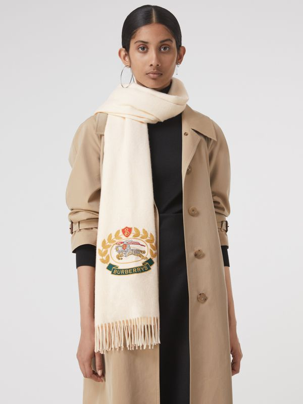 The Large Classic Cashmere Scarf with Archive Logo in Natural White | Burberry Australia - cell image 3