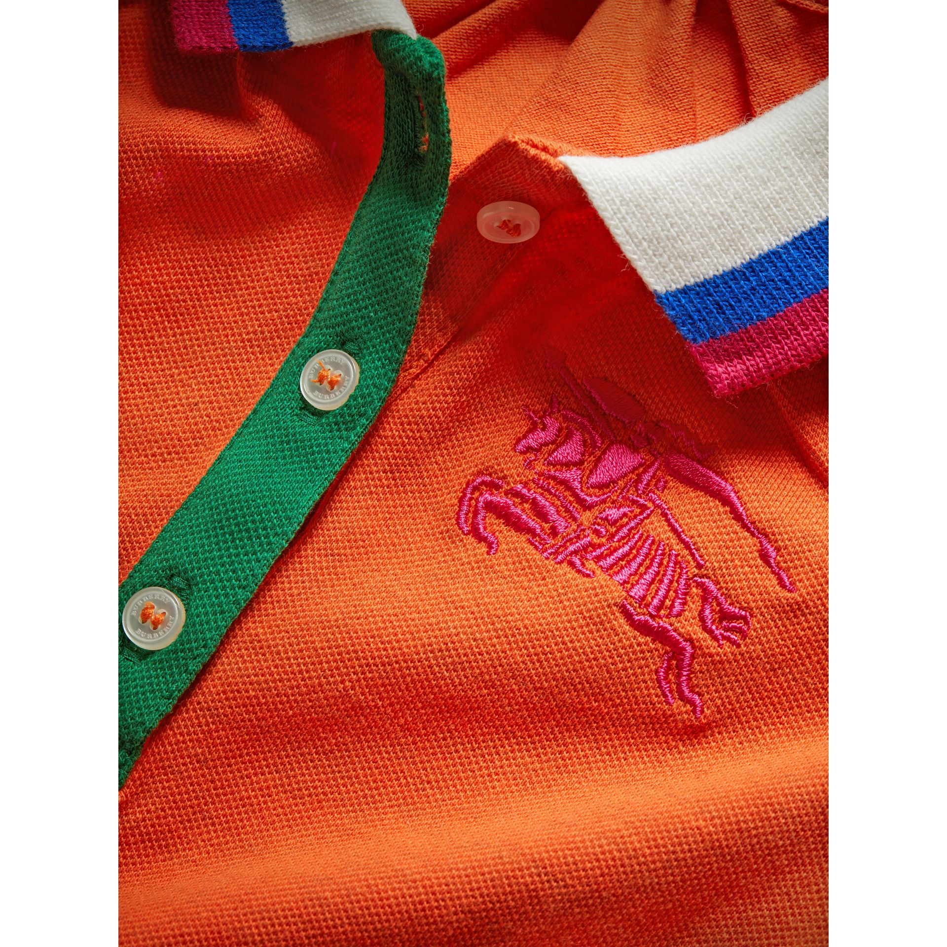 Stretch Cotton Polo Dress in Bright Clementine Melange - Children | Burberry - gallery image 1