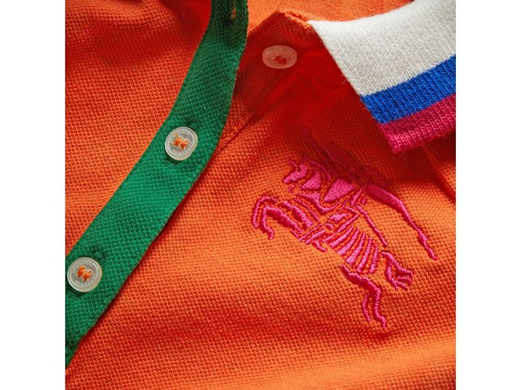 Stretch Cotton Polo Dress in Bright Clementine Melange | Burberry Hong Kong - cell image 1