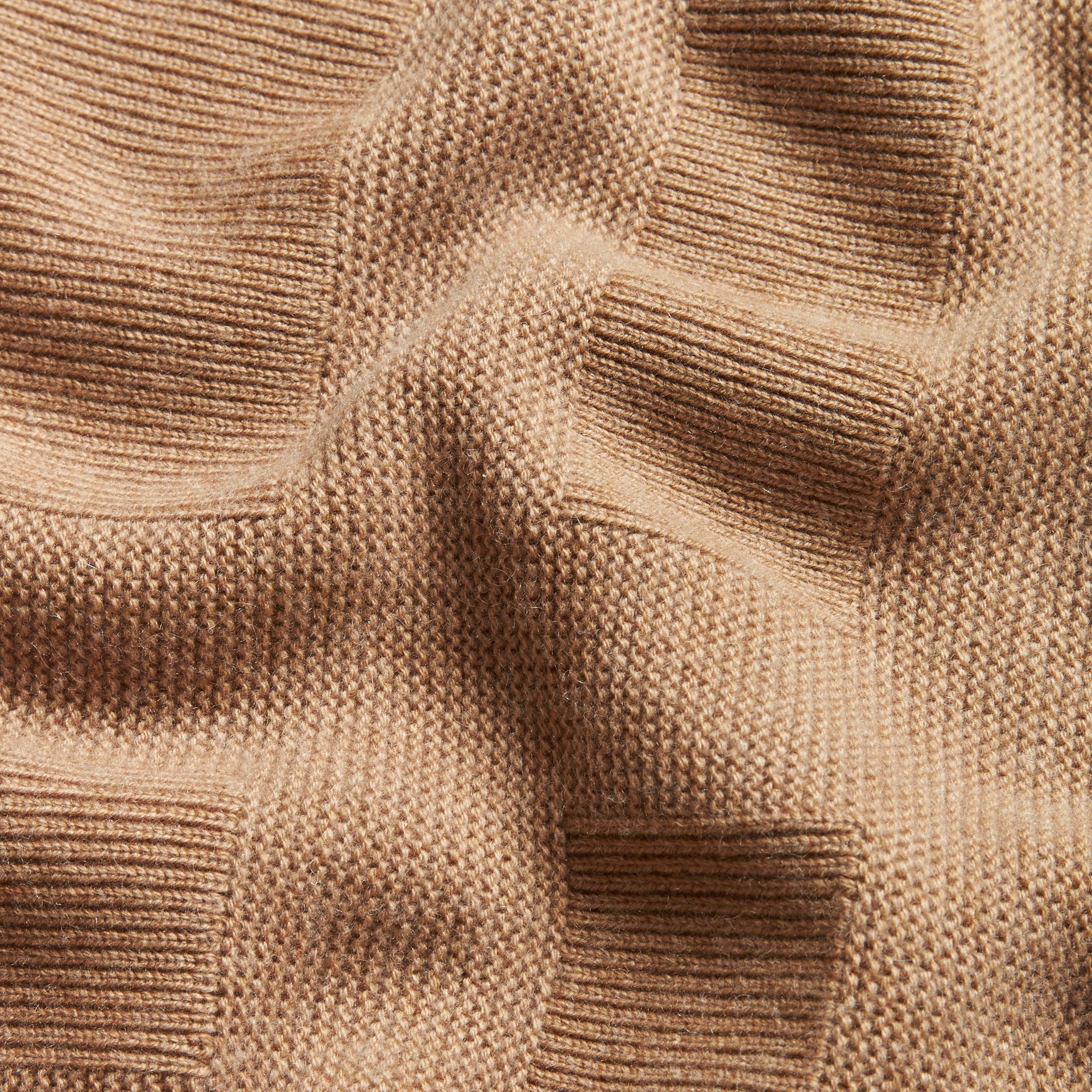Check-knit Wool Cashmere Sweater in Camel - gallery image 2