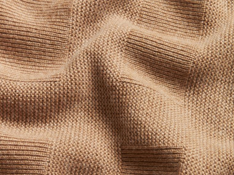 Check-knit Wool Cashmere Sweater Camel - cell image 1