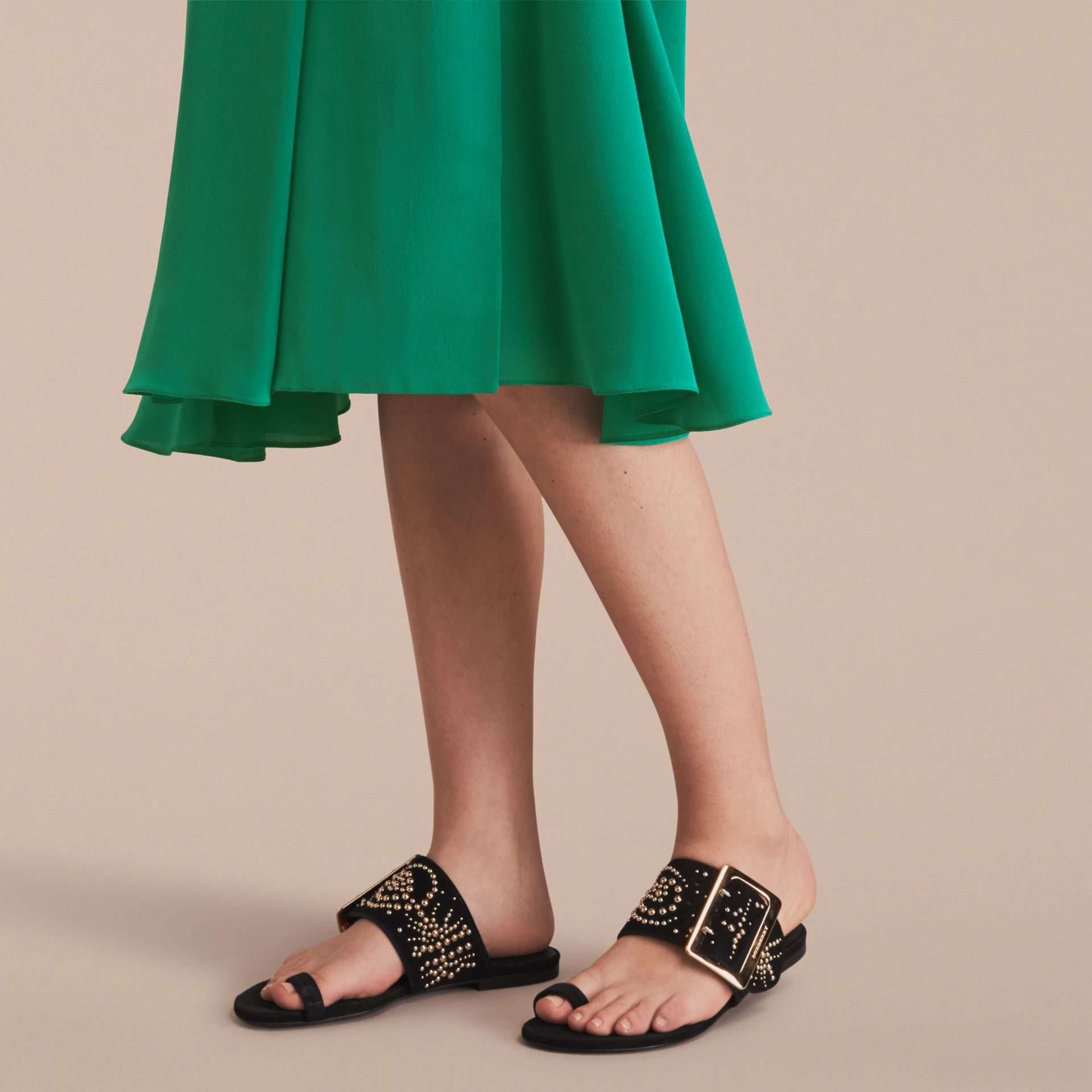 Studded Suede Sandals with Buckle Detail in Black - Women | Burberry - gallery image 3