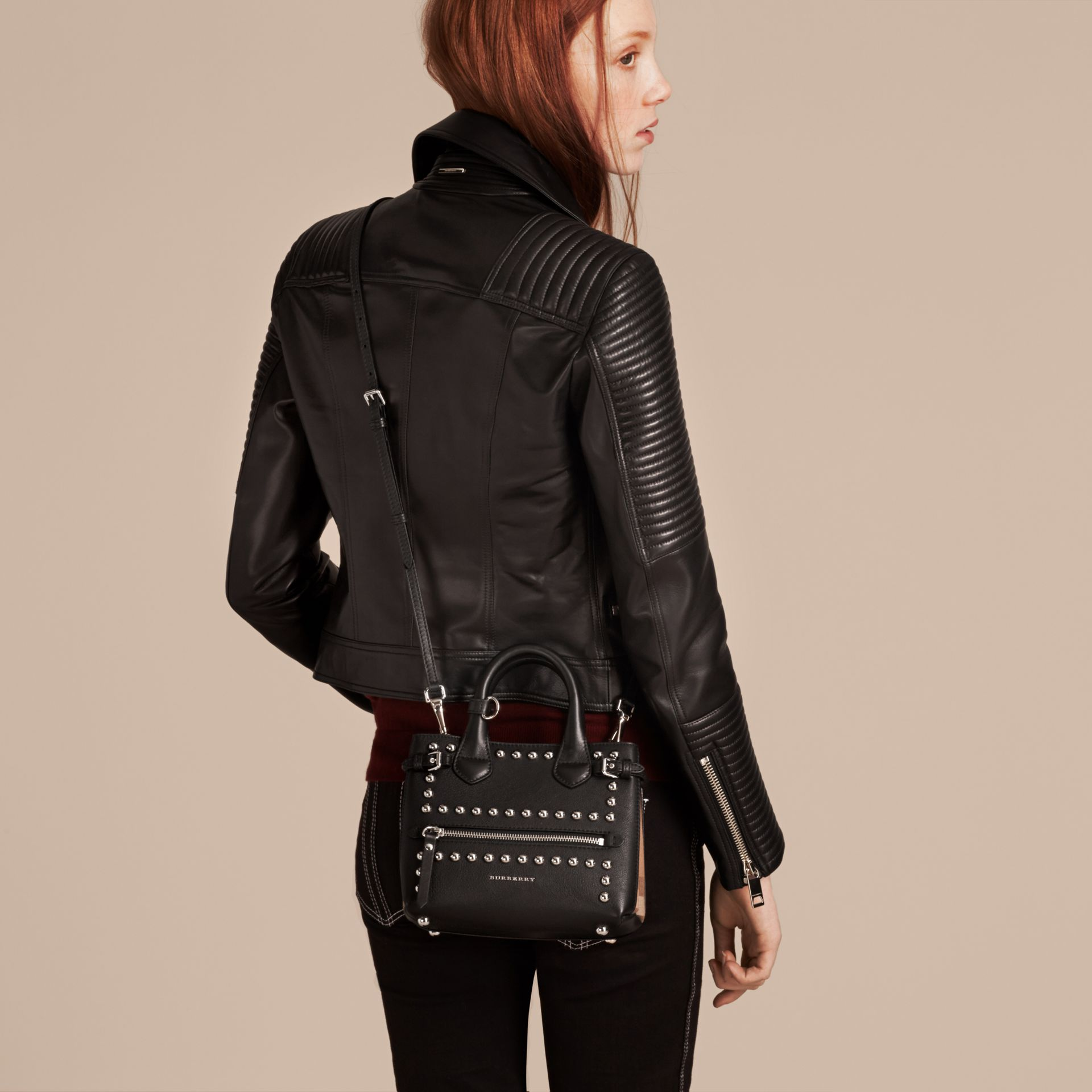 Black The Baby Banner in Studded Leather and House Check - gallery image 3