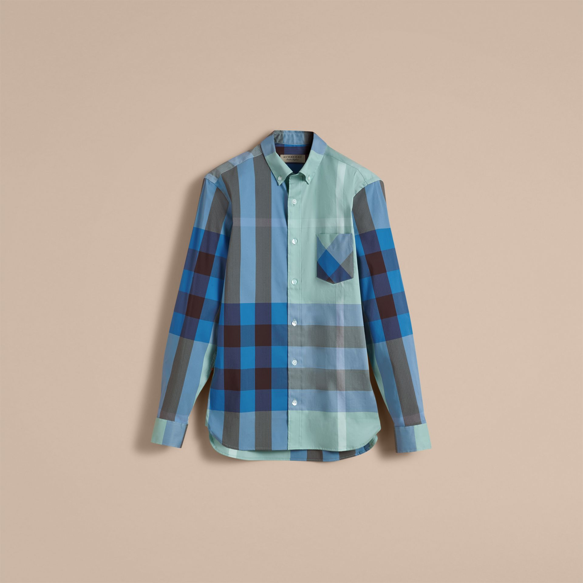 Button-down Collar Check Stretch Cotton Blend Shirt in Pale Opal - Men | Burberry - gallery image 4
