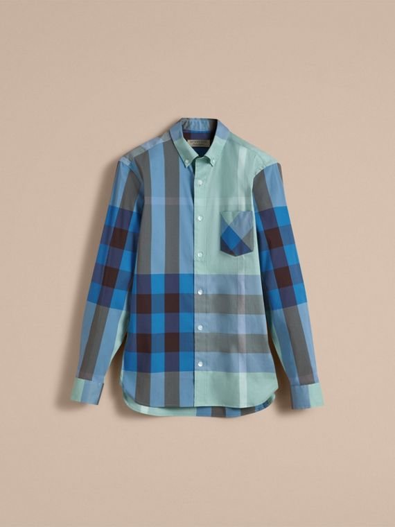 Button-down Collar Check Stretch Cotton Blend Shirt in Pale Opal - Men | Burberry Australia - cell image 3
