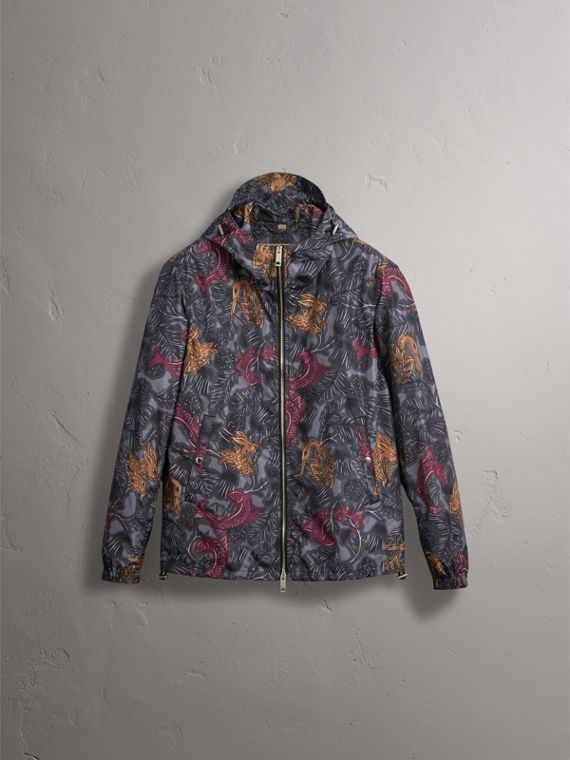 Beasts Print Super-lightweight Hooded Jacket in Navy Grey - Men | Burberry - cell image 3