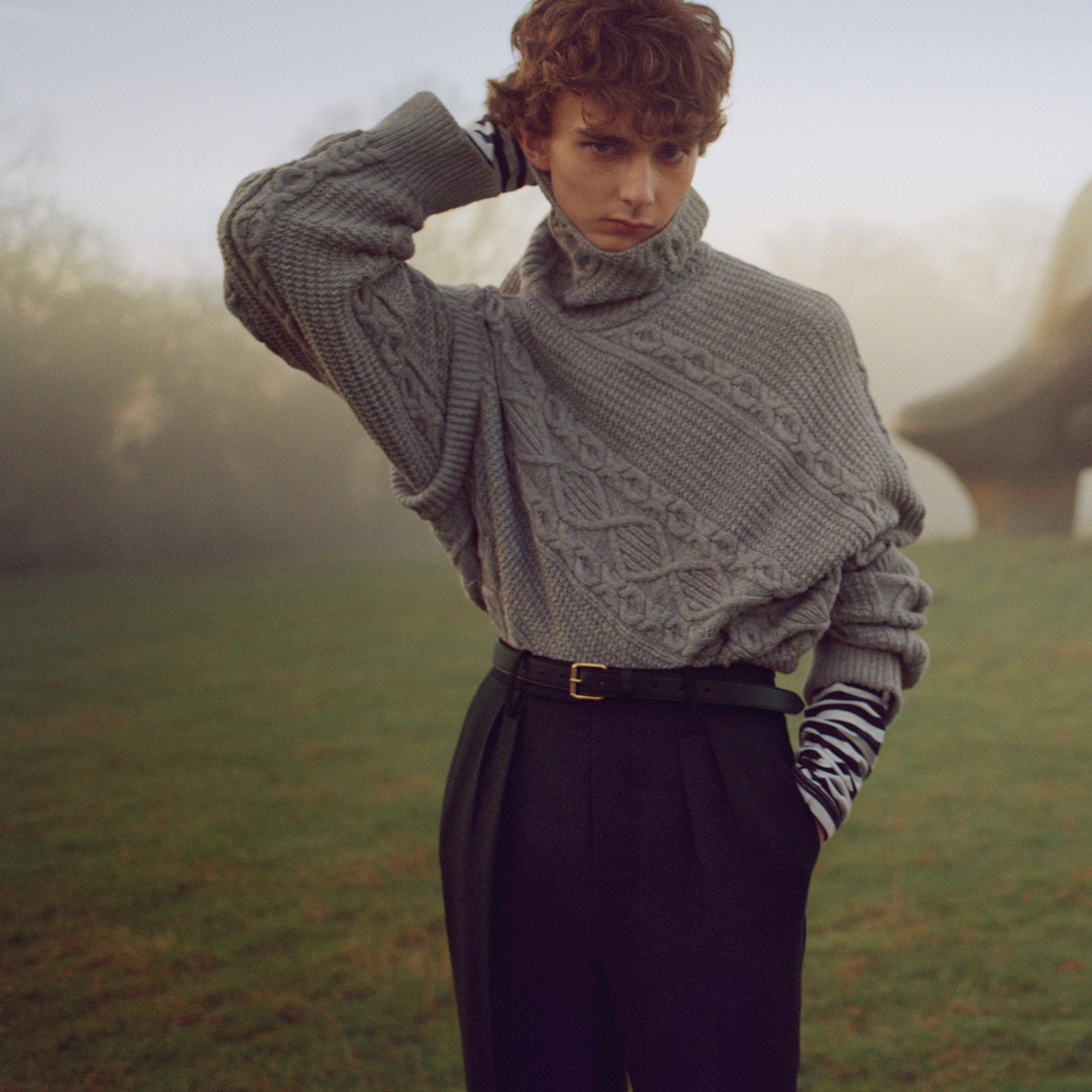 English Wool Mohair High-waist Tailored Trousers in Black - Men | Burberry Australia - gallery image 6