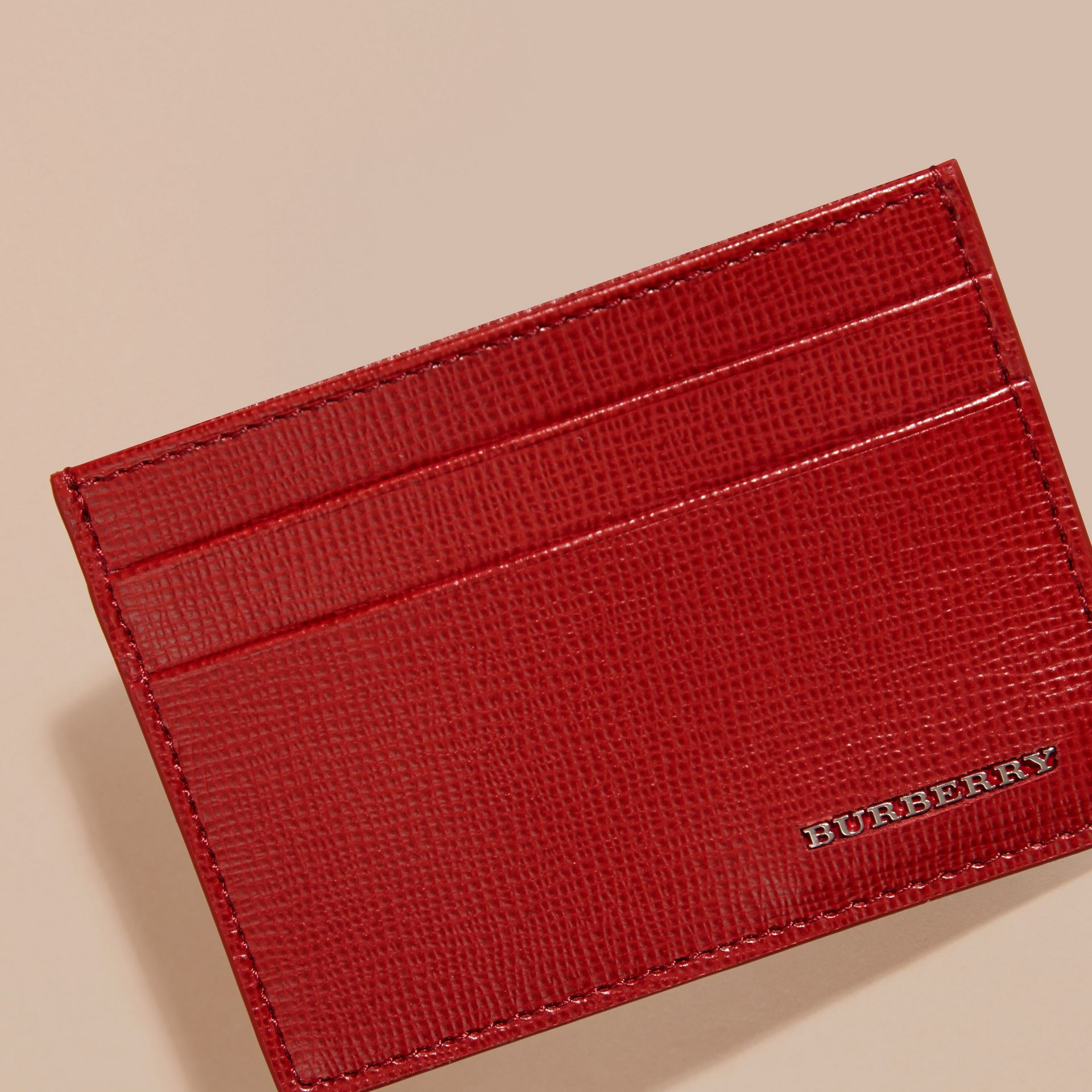 Dark military red London Leather Card Case - gallery image 2