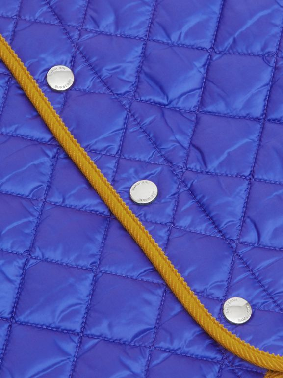 Corduroy Trim Lightweight Diamond Quilted Jacket in Dark Cobalt Blue - Children | Burberry United Kingdom - cell image 1