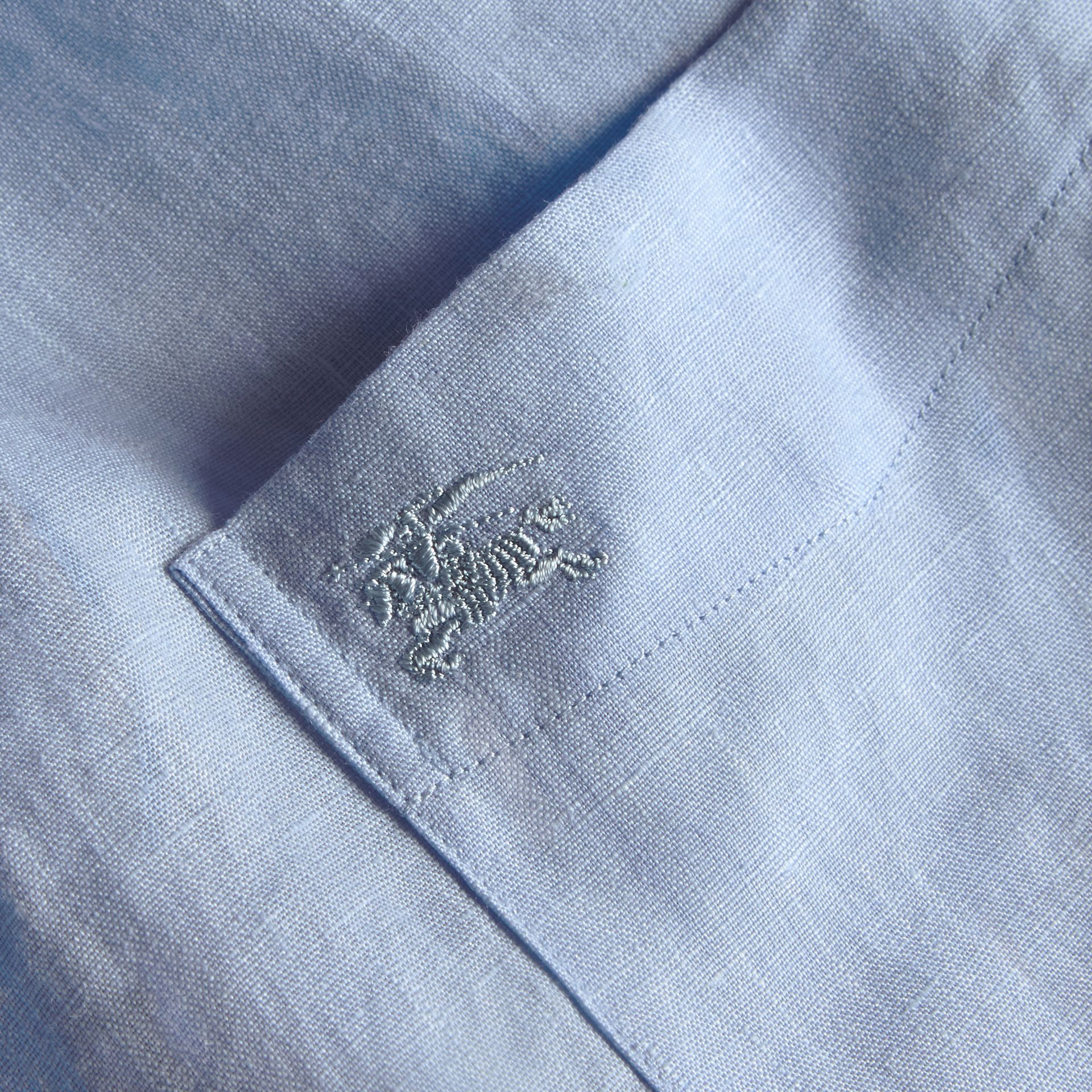 Check Detail Linen Shirt in Pale Blue - gallery image 2
