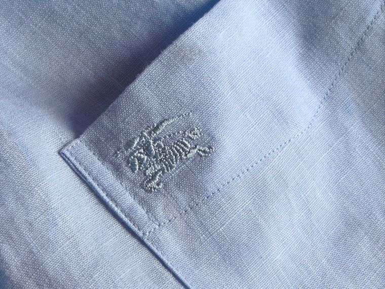 Check Detail Linen Shirt in Pale Blue - cell image 1