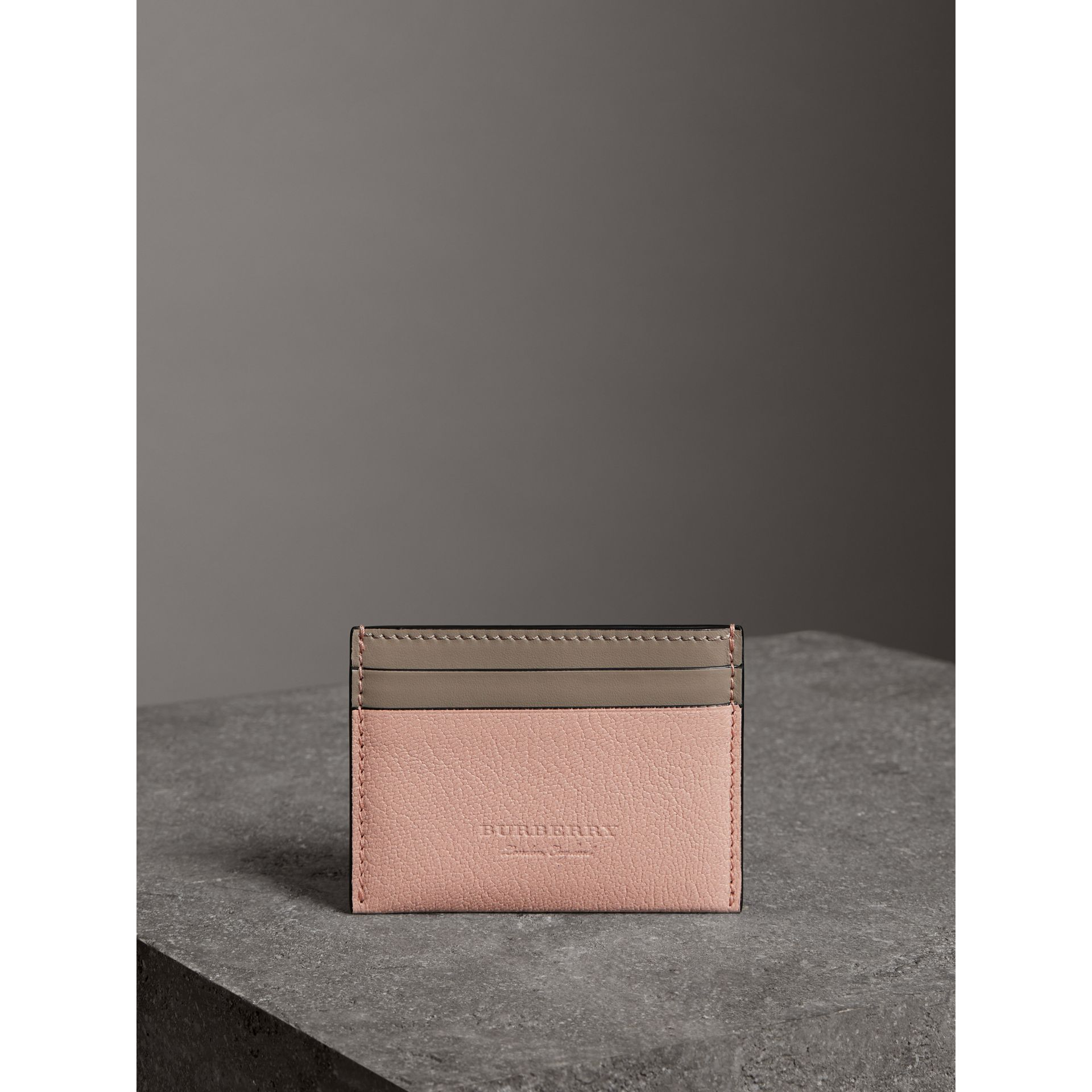 Two-tone Leather Card Case in Pale Ash Rose - Women | Burberry Hong Kong - gallery image 3