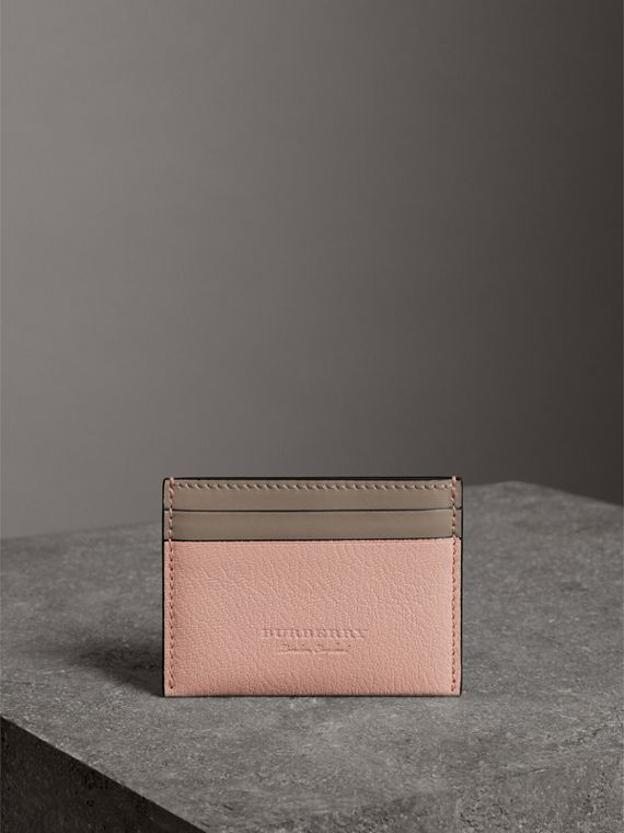 Two-tone Leather Card Case in Pale Ash Rose