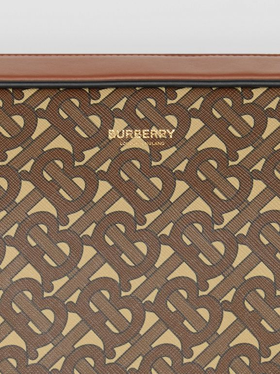 Monogram Print E-canvas Messenger Bag in Bridle Brown - Men | Burberry - cell image 1