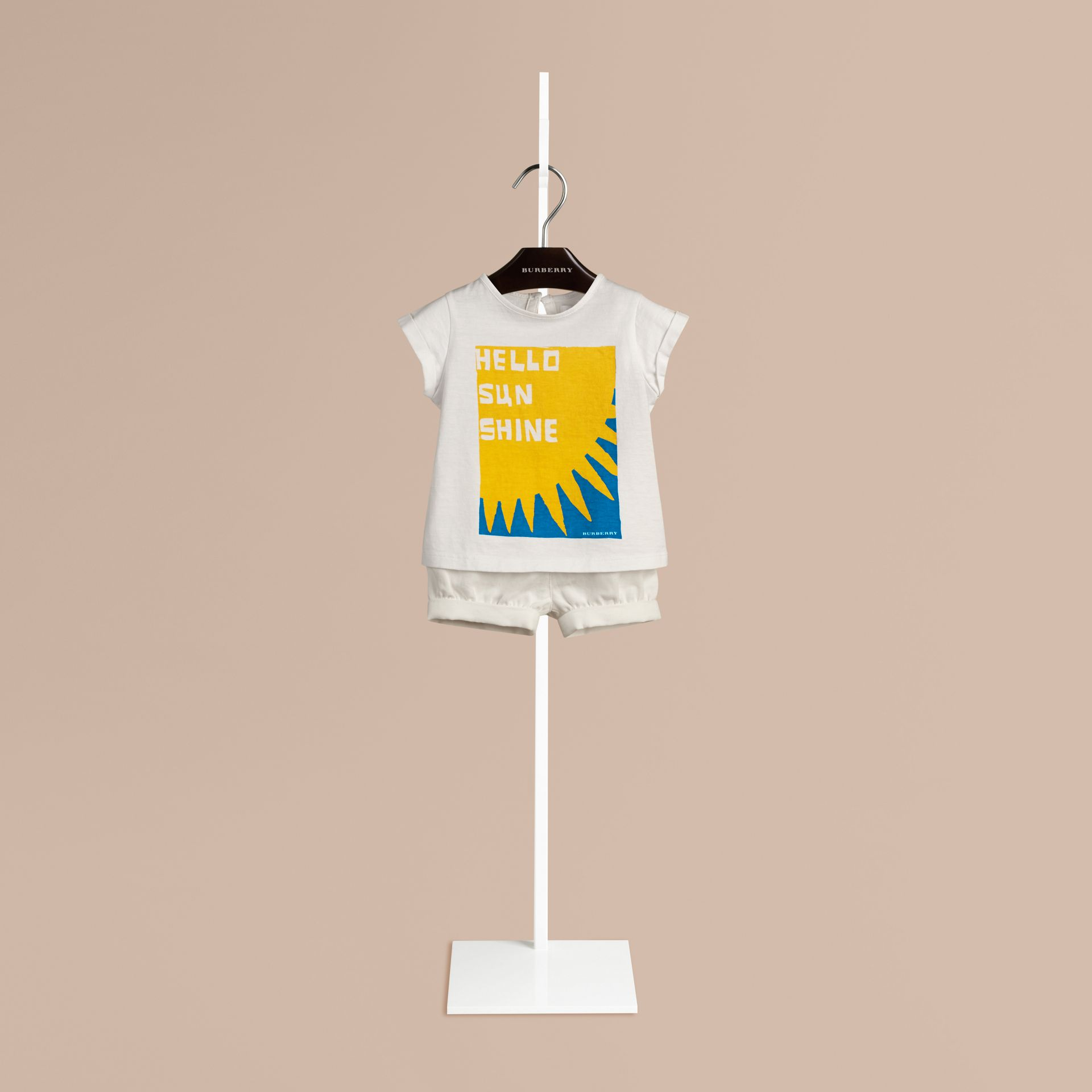 Blanc T-shirt en coton à motif Hello Sunshine - photo de la galerie 1