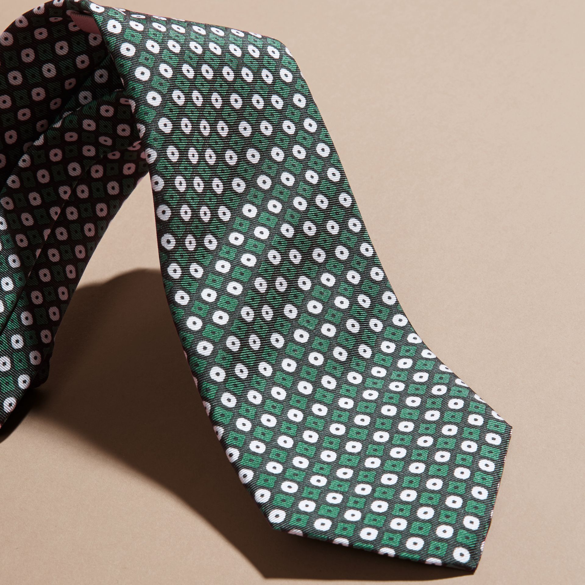 Green black Slim Cut Geometric Print Silk Tie Green Black - gallery image 2