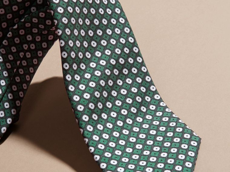 Green black Slim Cut Geometric Print Silk Tie Green Black - cell image 1