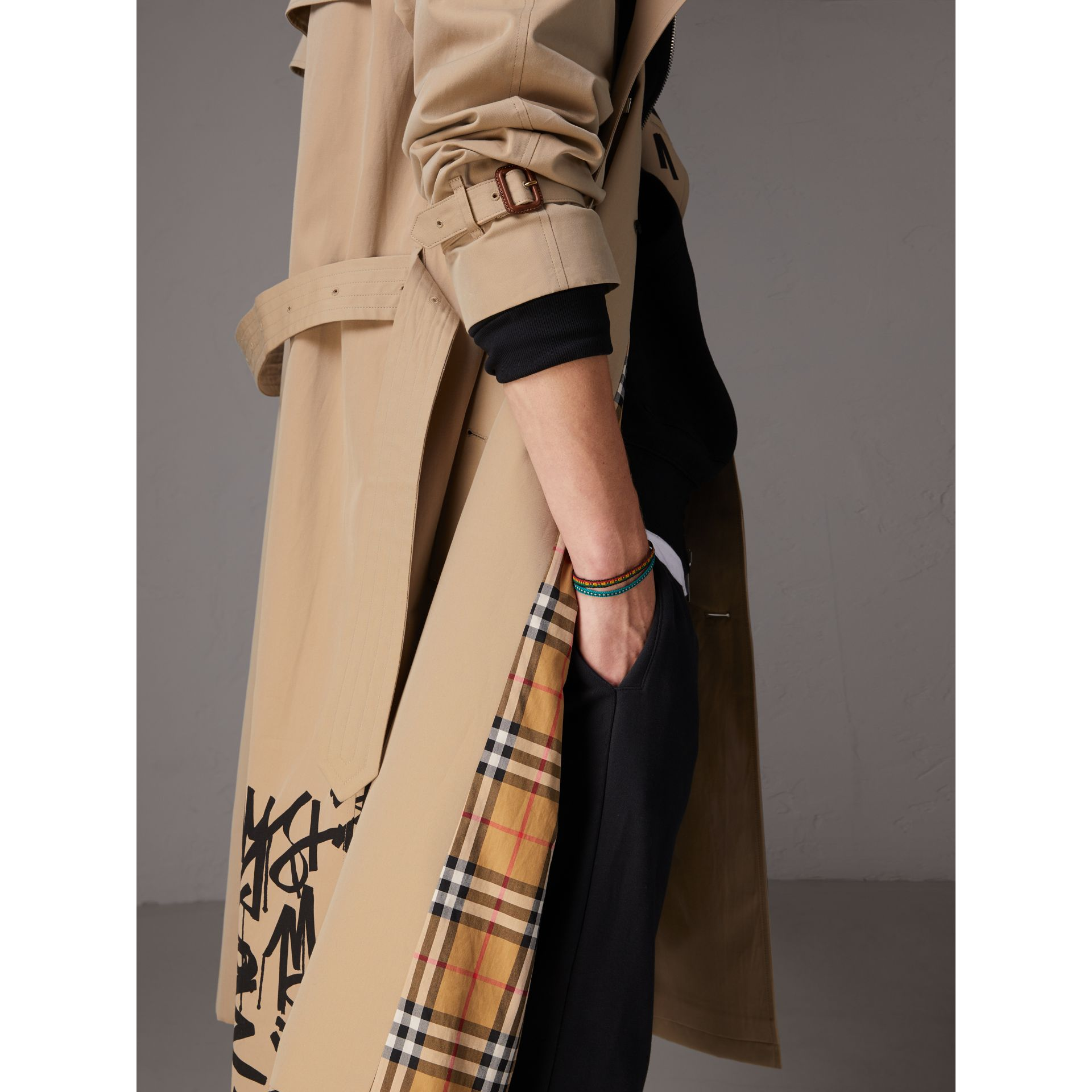 Burberry x Kris Wu Gabardine Trench Coat in Honey - Men | Burberry - gallery image 1
