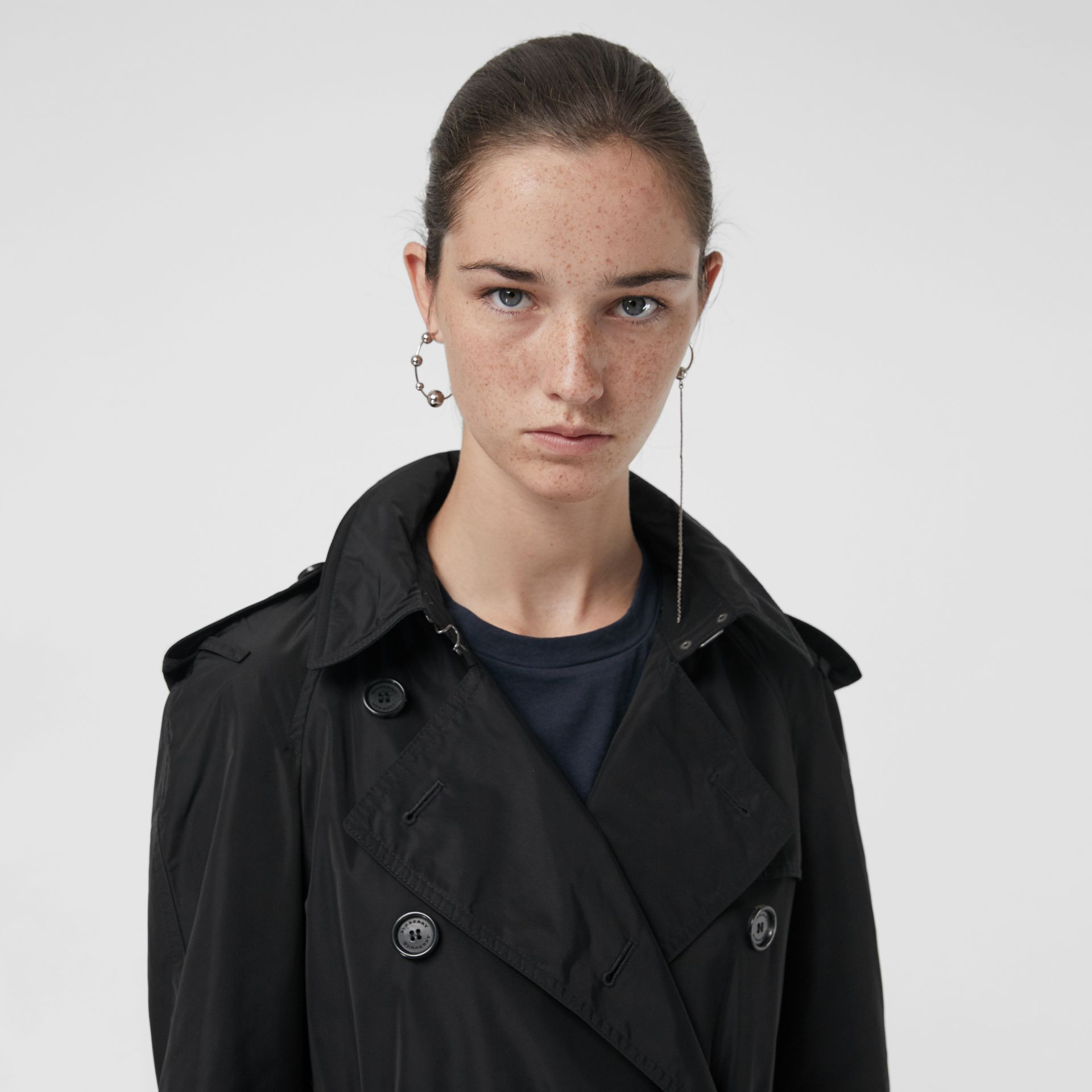 Detachable Hood Taffeta Trench Coat in Black - Women | Burberry Canada - gallery image 1