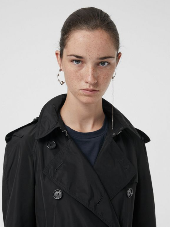 Detachable Hood Taffeta Trench Coat in Black - Women | Burberry Canada - cell image 1