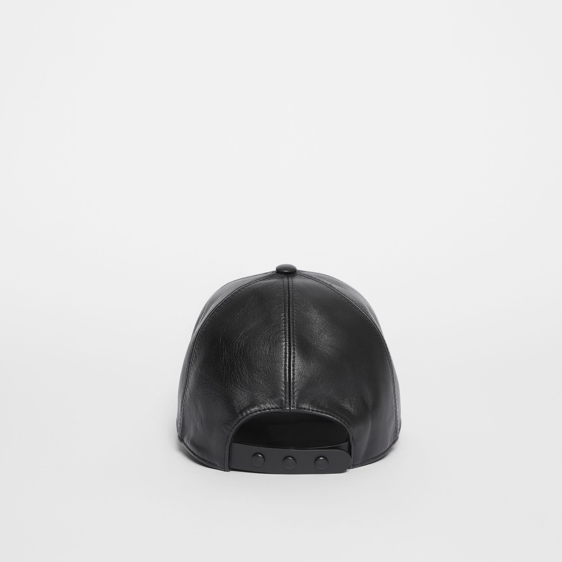 Monogram Motif Leather Baseball Cap in Black | Burberry Hong Kong S.A.R - gallery image 6