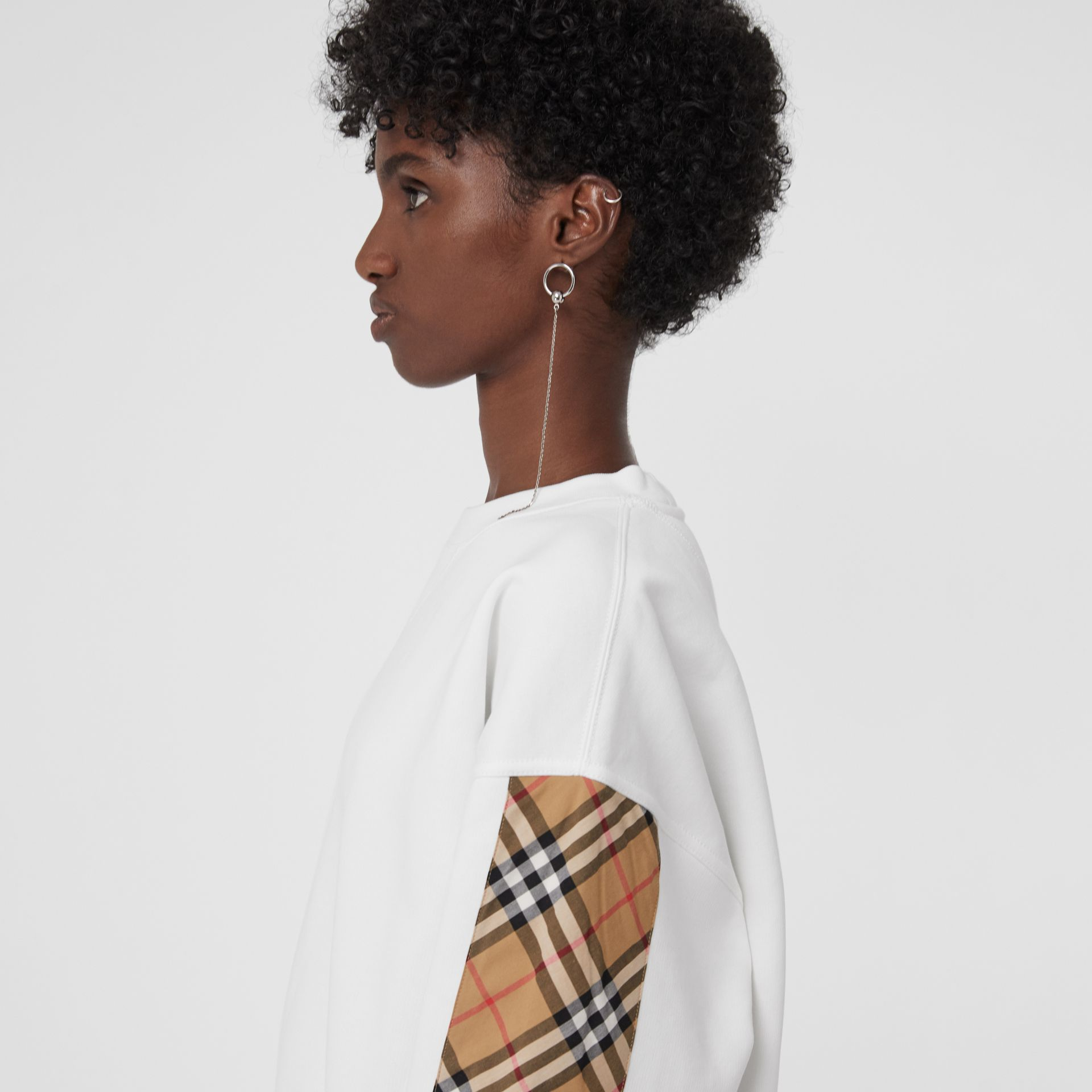 Vintage Check Detail Cotton Blend Sweatshirt in White - Women | Burberry Australia - gallery image 1
