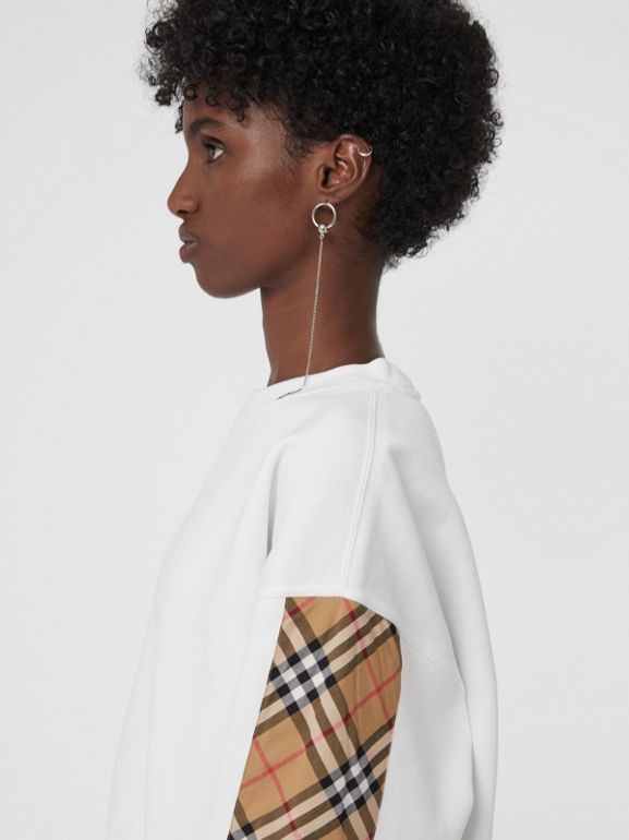 Vintage Check Detail Cotton Blend Sweatshirt in White - Women | Burberry Hong Kong - cell image 1