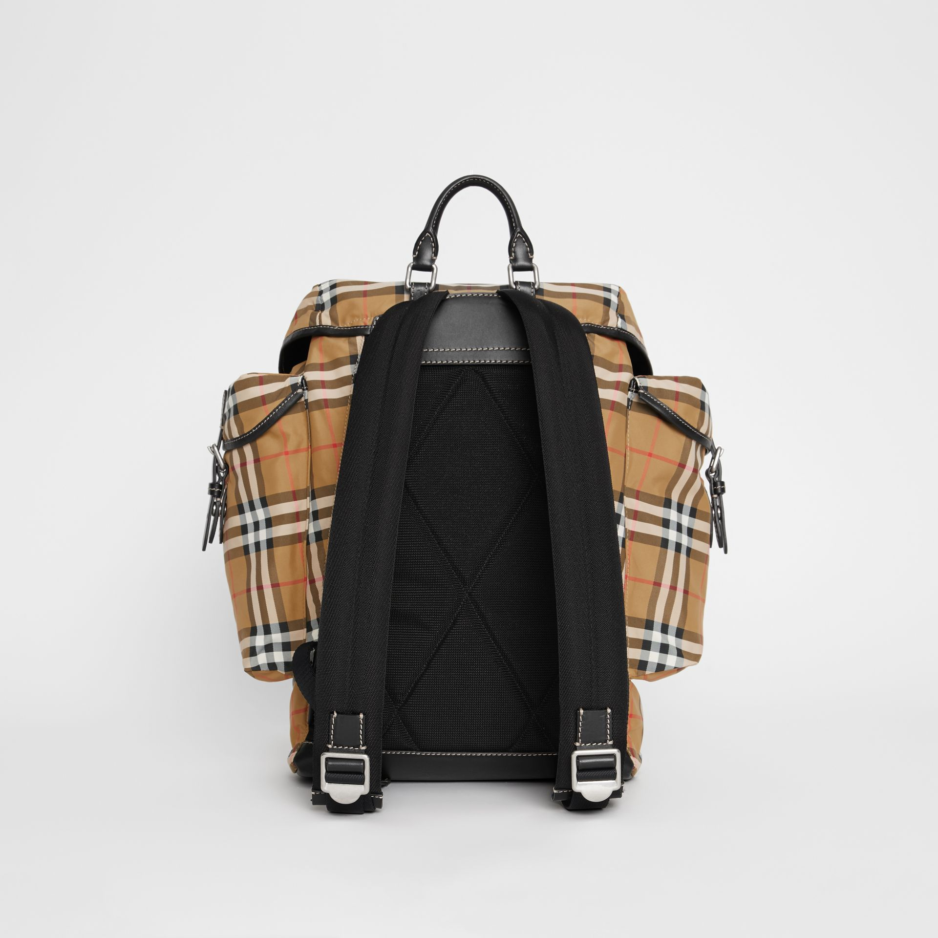 Vintage Check and Leather Backpack in Antique Yellow - Men | Burberry United Kingdom - gallery image 7