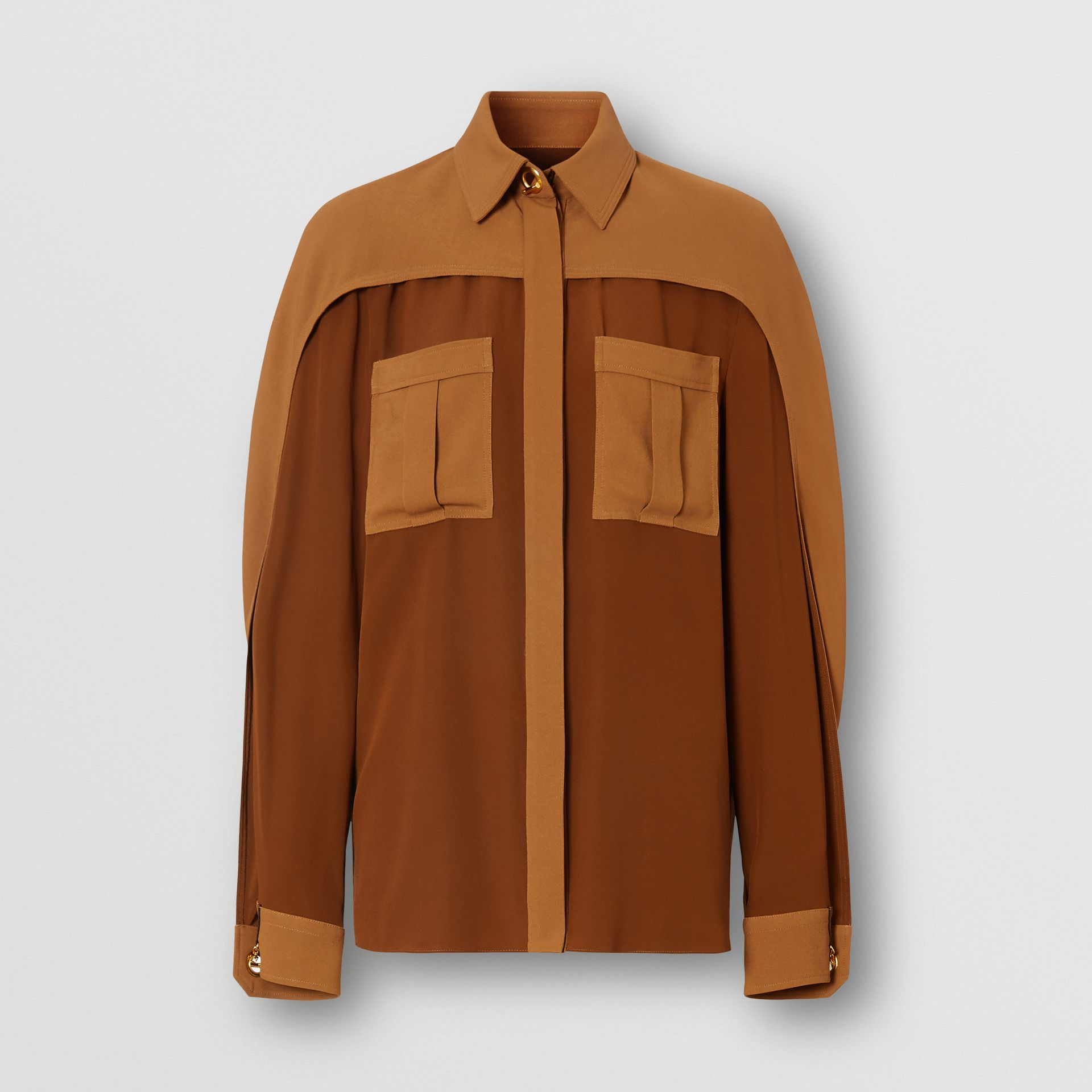 Cape Sleeve Two-tone Silk Shirt in Mahogany - Women | Burberry Canada - gallery image 3