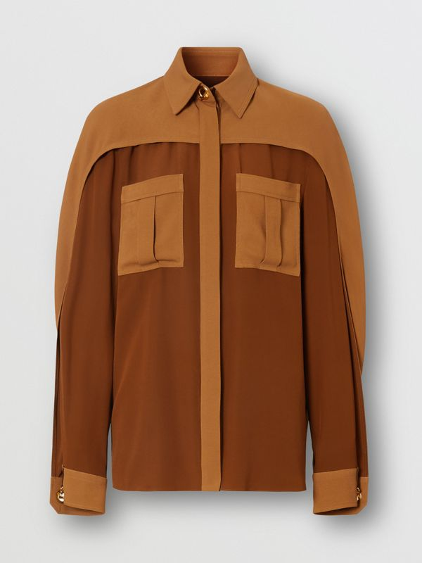 Cape Sleeve Two-tone Silk Shirt in Mahogany - Women | Burberry - cell image 3