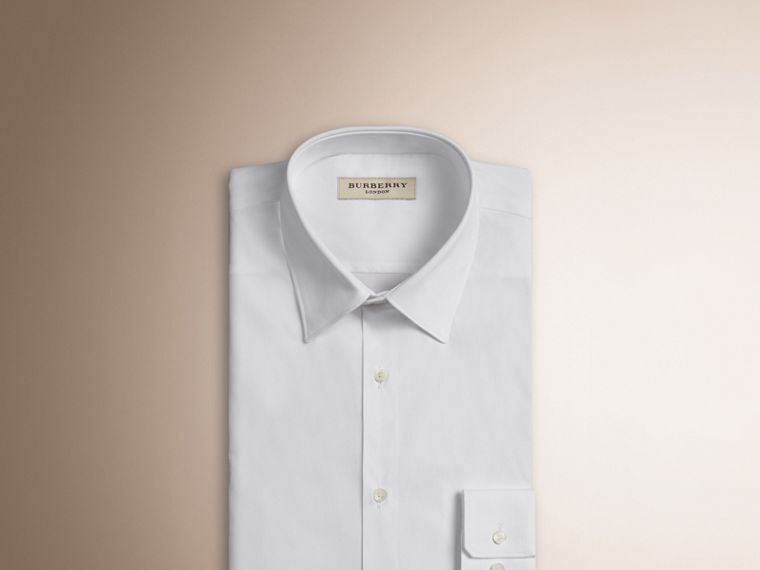 Slim Fit Stretch Cotton Shirt in White - Men | Burberry - cell image 2