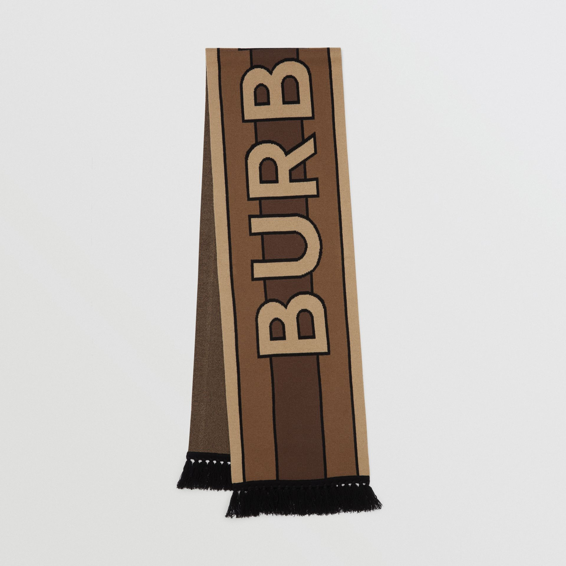 Logo Cashmere Jacquard Scarf in Bridle Brown | Burberry - gallery image 0