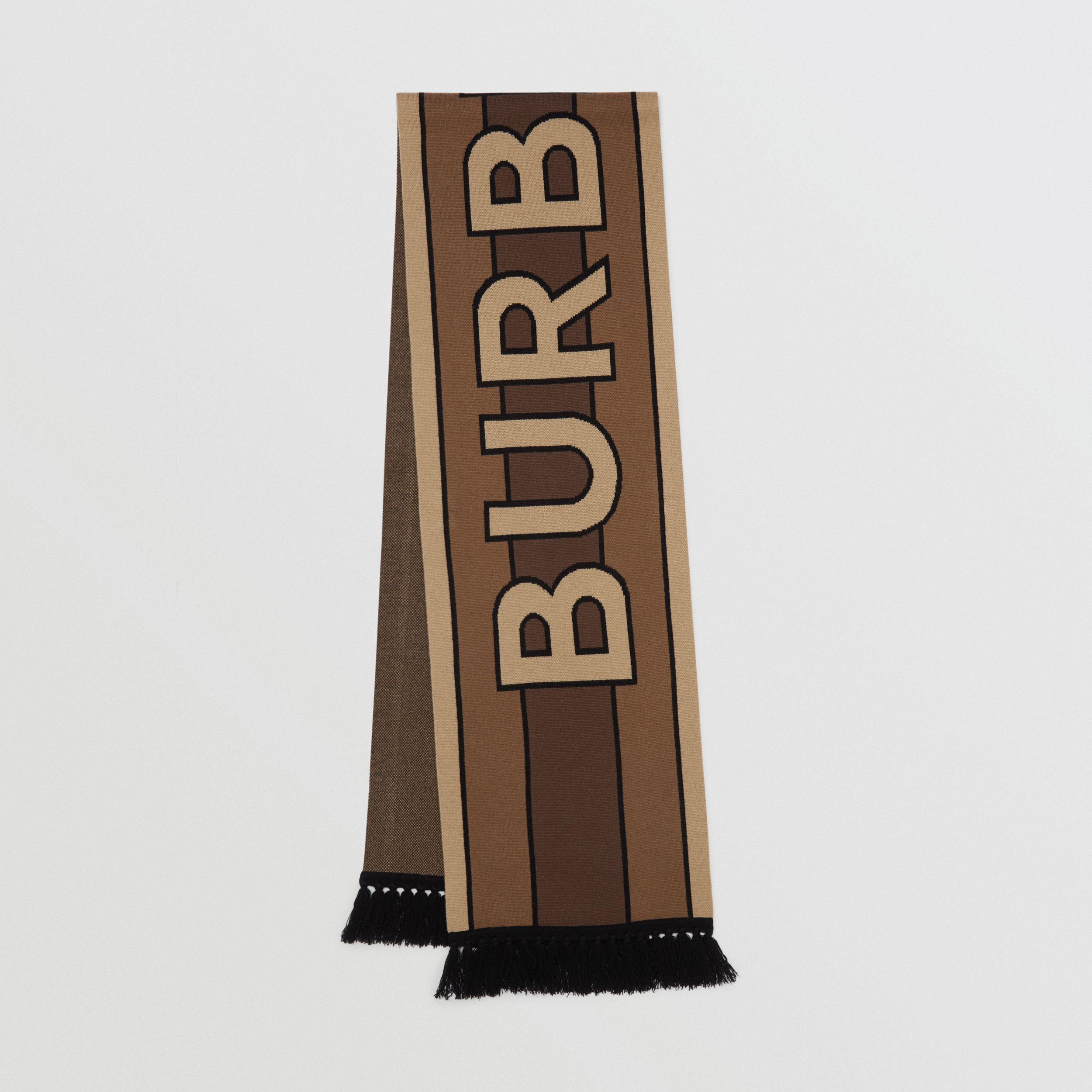 Logo Cashmere Jacquard Scarf in Bridle Brown | Burberry - 1