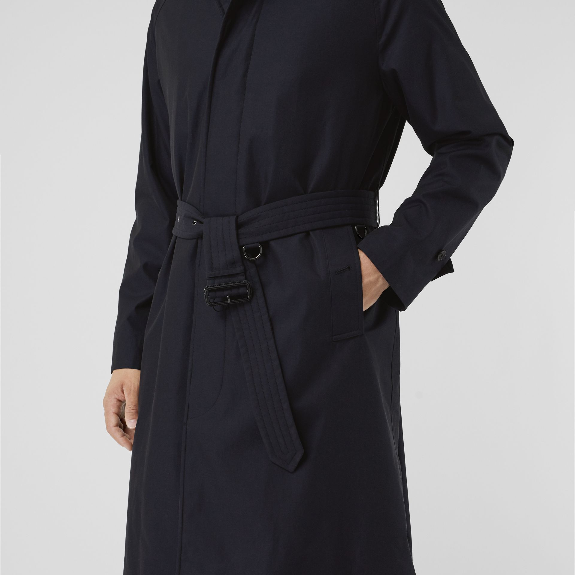 Quilt-lined Tropical Gabardine Belted Car Coat in Blue Carbon - Men | Burberry Singapore - gallery image 6
