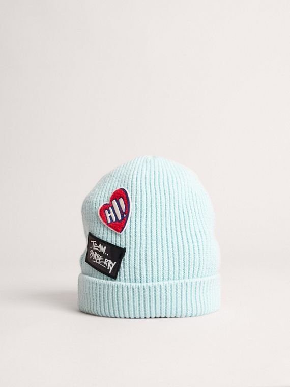 Patch Detail Merino Wool Beanie in Mint