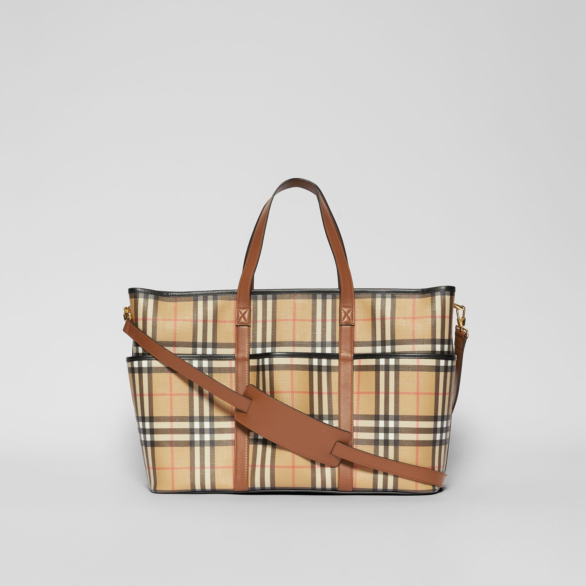 Vintage Check E-canvas Baby Changing Bag in Archive Beige - Children | Burberry United States - gallery image 5