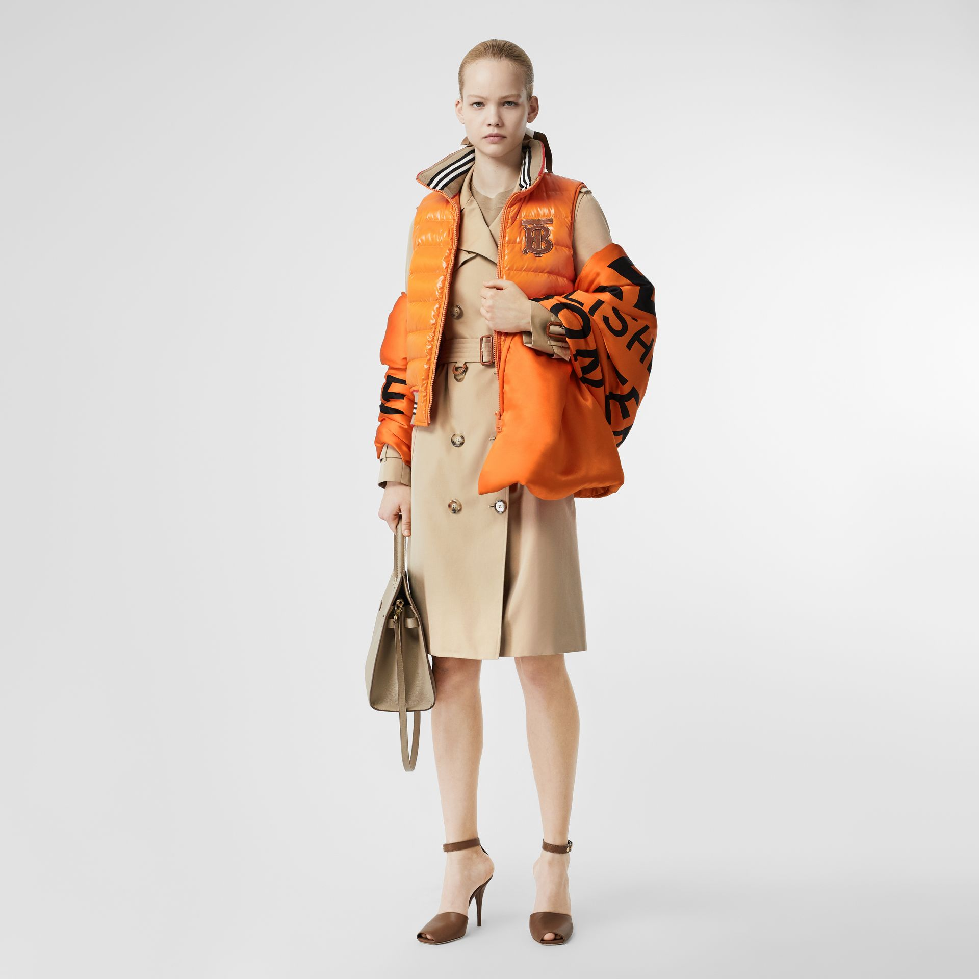 Horseferry Print Silk Puffer Scarf in Orange/black | Burberry Singapore - gallery image 4