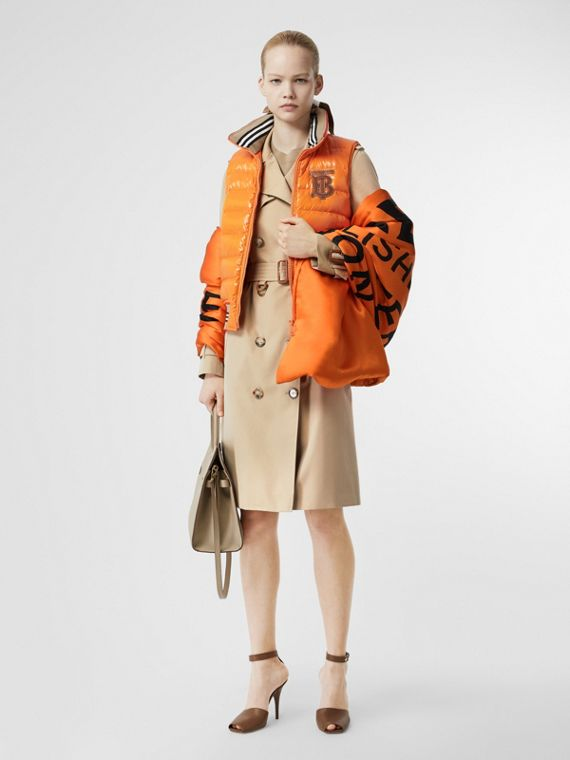 Horseferry Print Silk Puffer Scarf in Orange/black