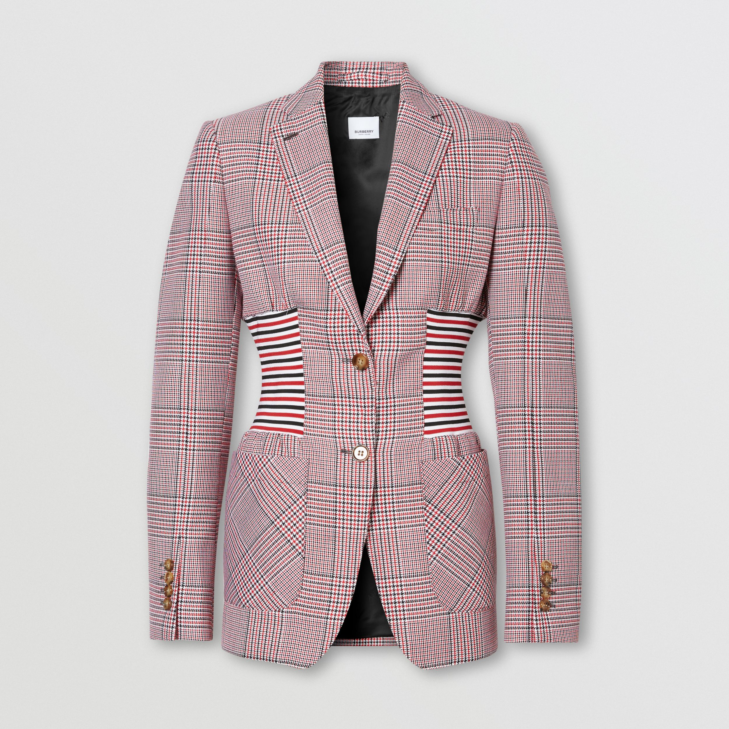 Knitted Panel Houndstooth Check Wool Jacket in Bright Red - Women | Burberry United Kingdom - 4