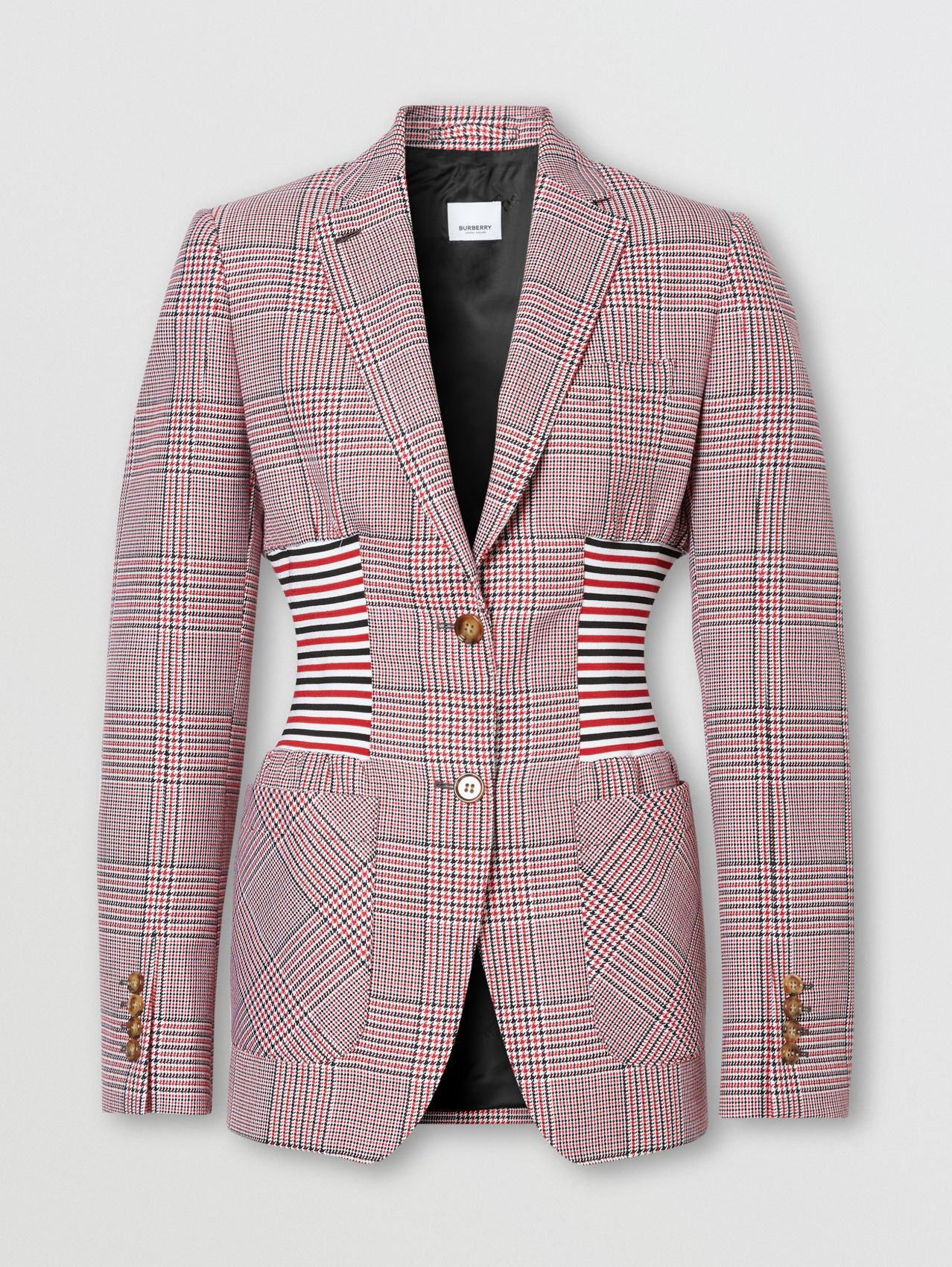 Knitted Panel Houndstooth Check Wool Jacket in Bright Red