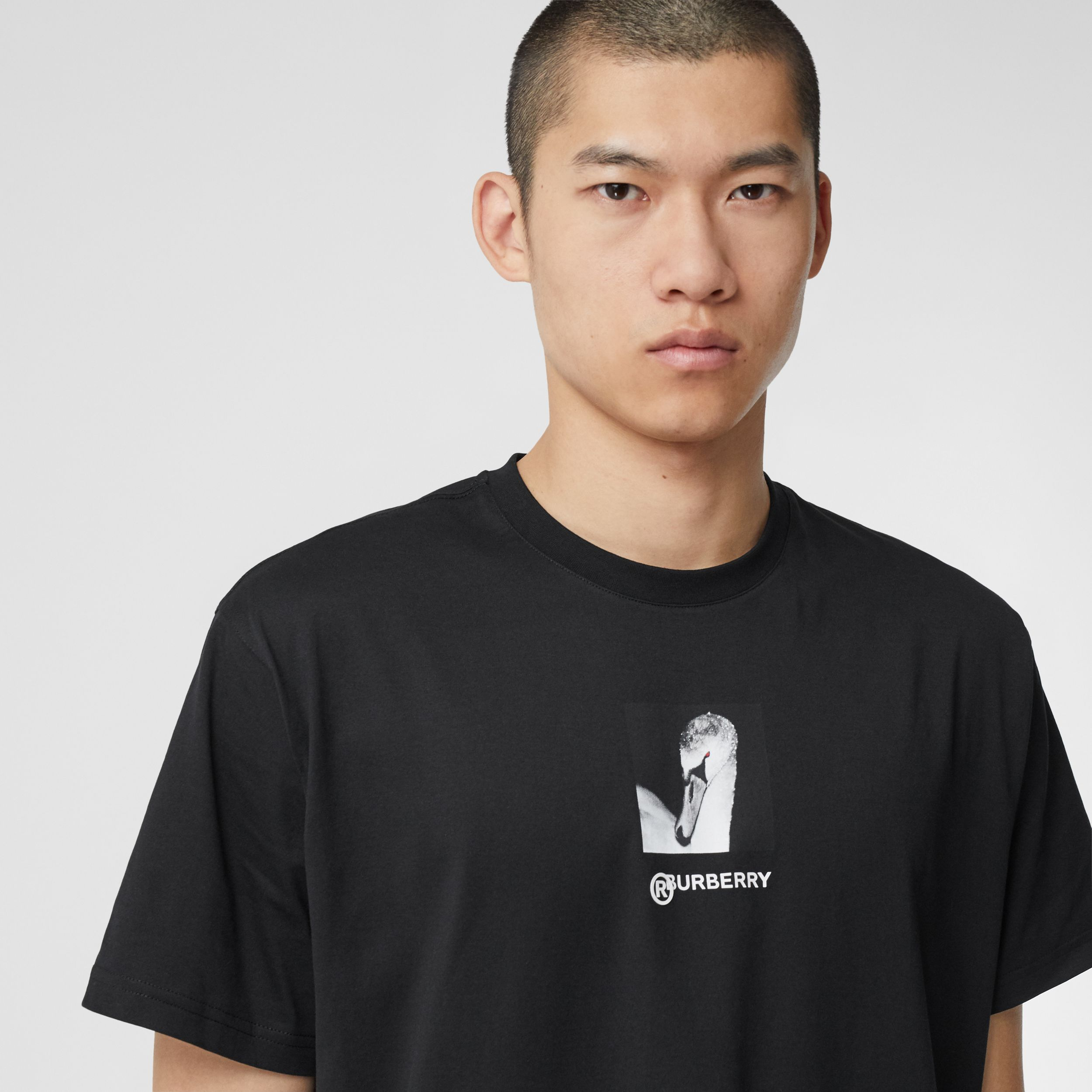 Swan and Logo Print Cotton Oversized T-shirt - Men | Burberry - 2