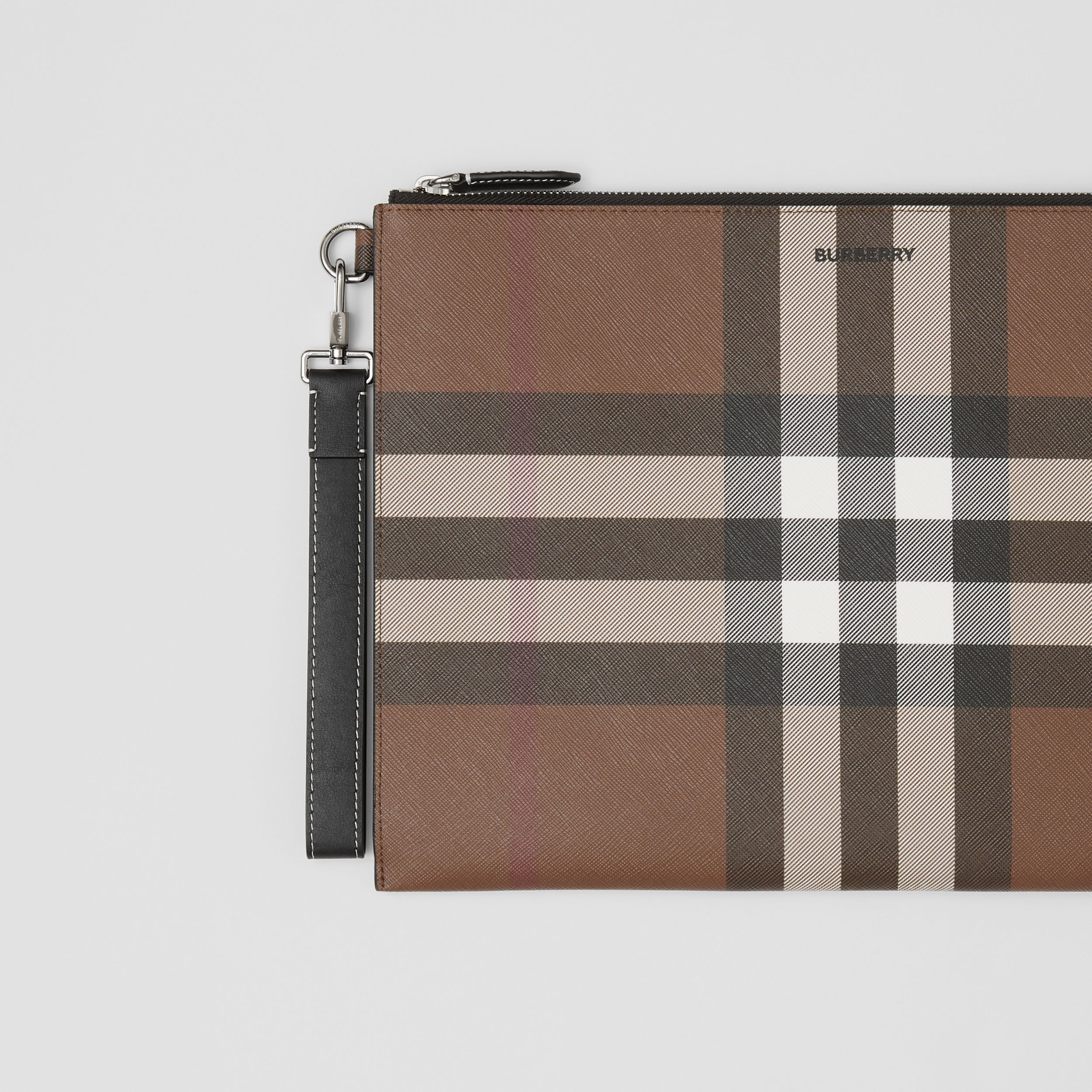 Large Check E-canvas Zip Pouch in Dark Birch Brown | Burberry - 2