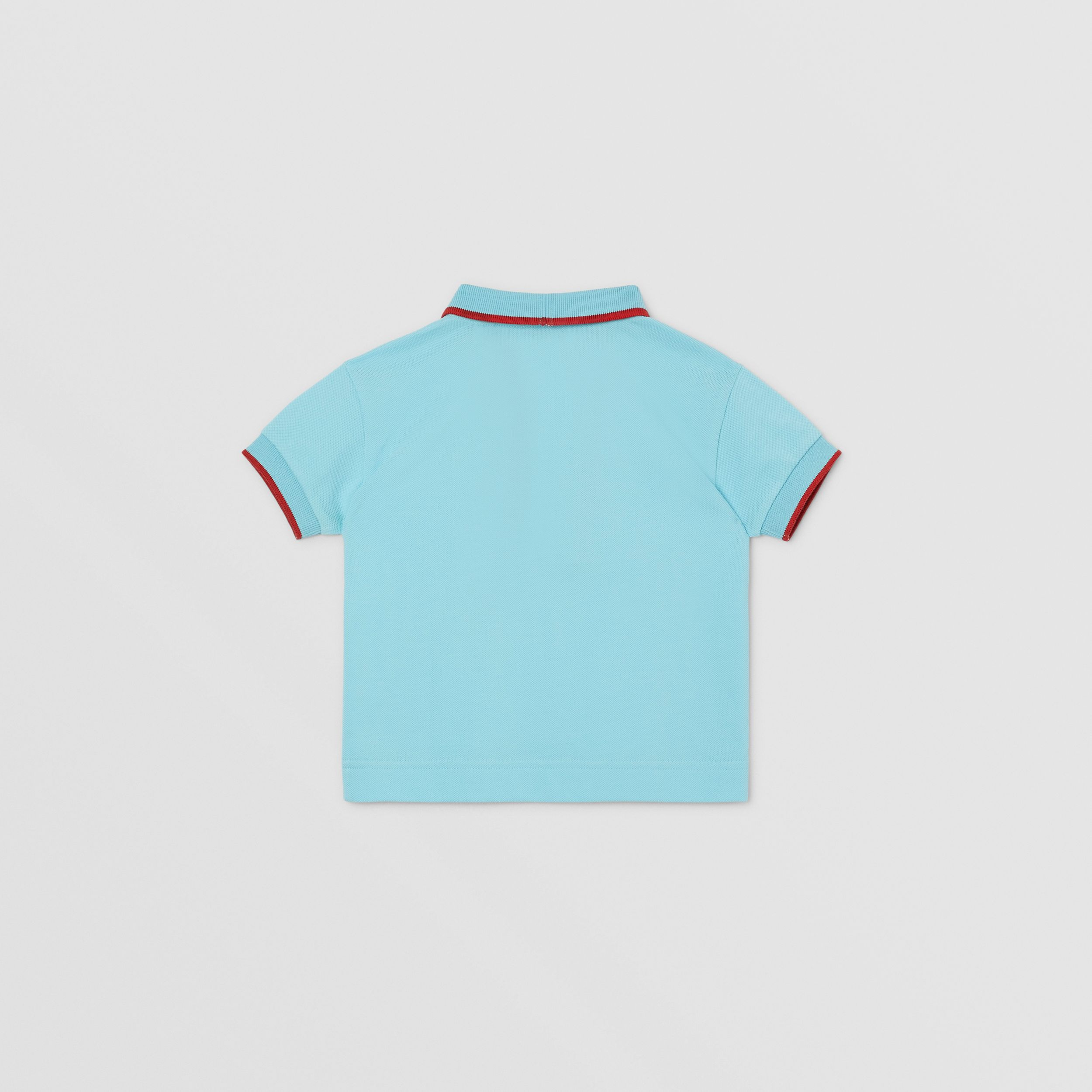 Icon Stripe Detail Cotton Zip-front Polo Shirt in Pale Turquoise - Children | Burberry United Kingdom - 4