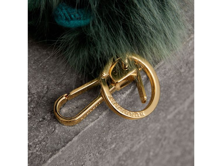Thomas Bear Pom-Pom Charm in Check Cashmere in Dark Aqua - Women | Burberry - cell image 1