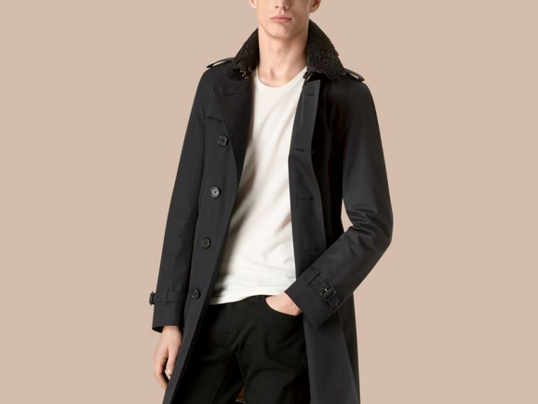 Navy The Chelsea - Trench coat in gabardine con collo in pizzo Navy - cell image 2