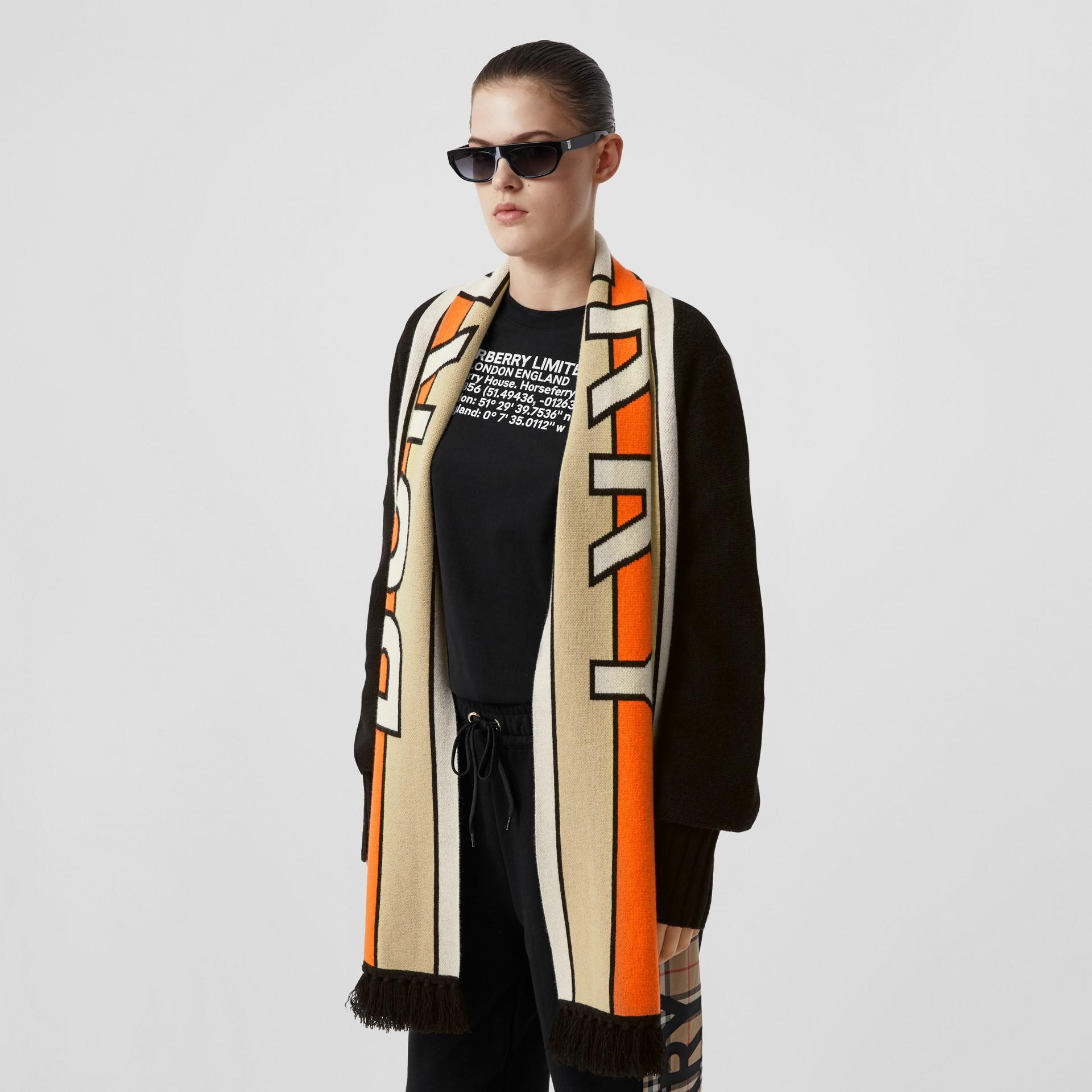 Logo Jacquard Scarf Detail Wool Cashmere Cardigan in Black - Women | Burberry United Kingdom - gallery image 4