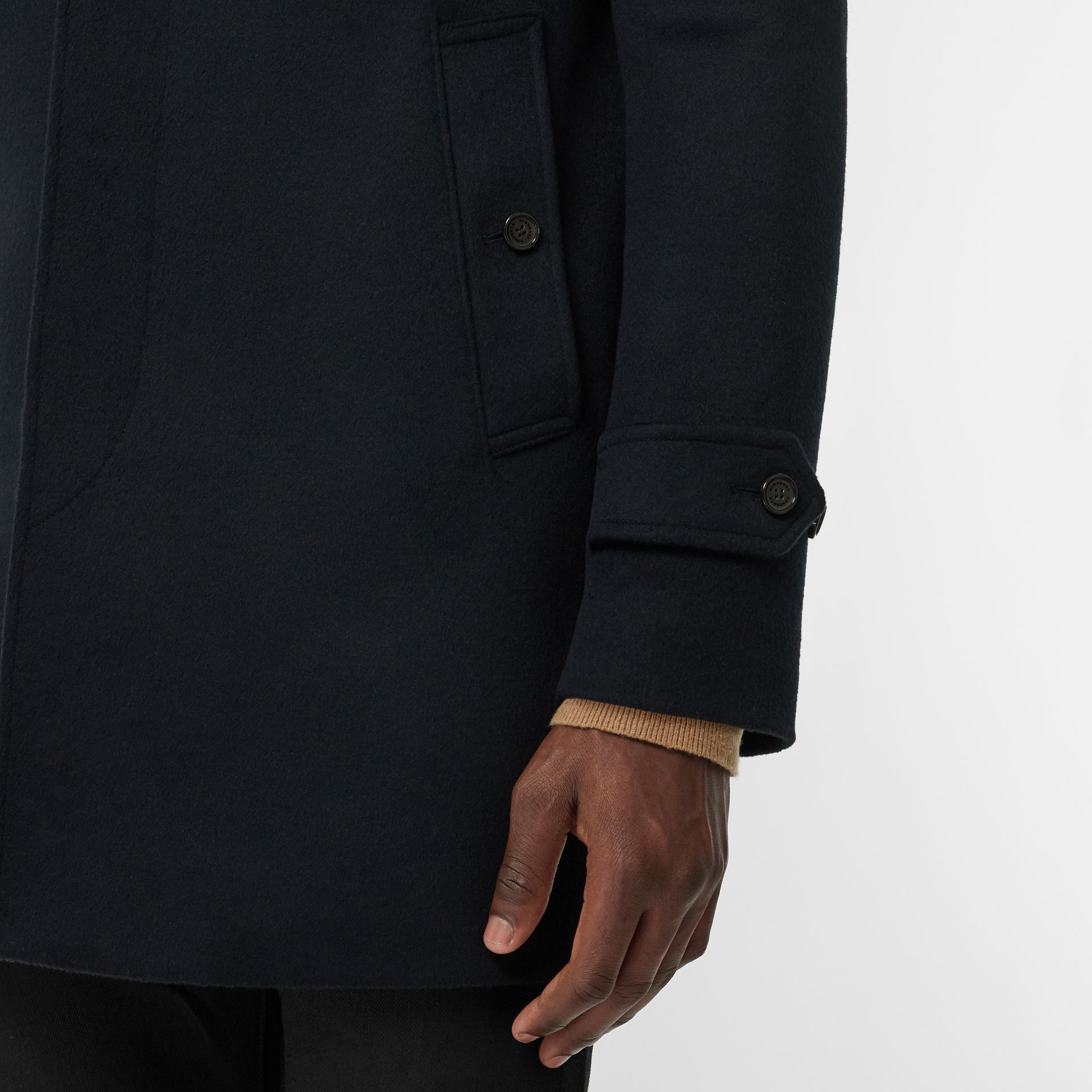 Wool Cashmere Car Coat in Navy - Men | Burberry United Kingdom - gallery image 5