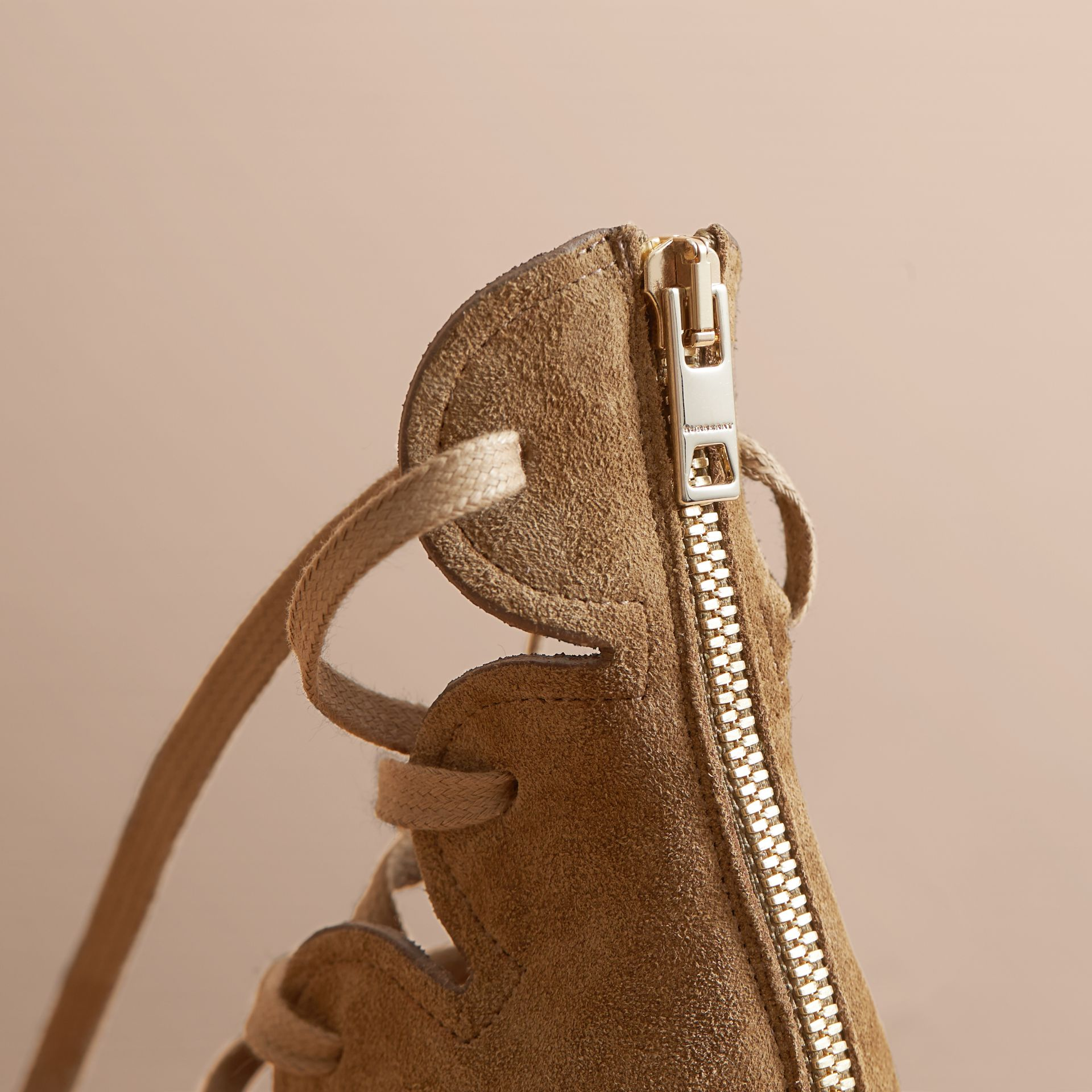 Scalloped Suede Lace-up Sandals in Sandstone - Women | Burberry - gallery image 2