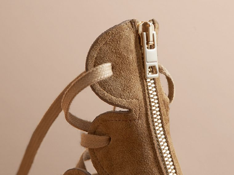 Scalloped Suede Lace-up Sandals in Sandstone - Women | Burberry - cell image 1