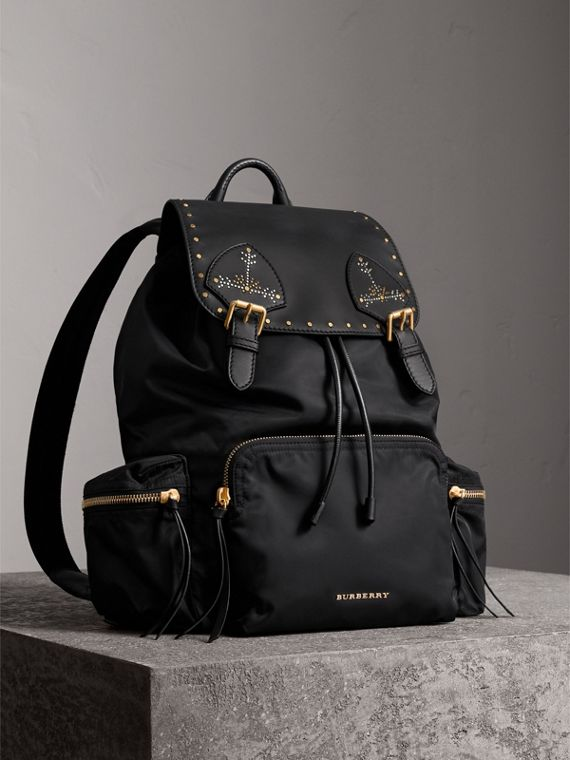 The Large Rucksack in Nylon and Riveted Leather in Black